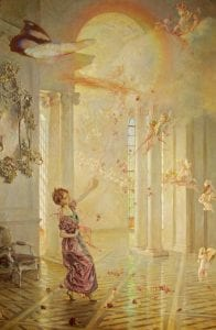 A girl in a pink dress dances in a high-vaulted sun filled room with fairies flying around her.