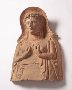 Terracotta plaque showing the goddess Persephone
