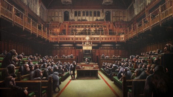 A canvas painting of chimpanzees in the Houses of Parliament