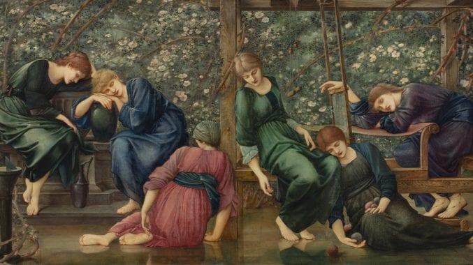 Six sleeping women draped elegantly over garden furniture.