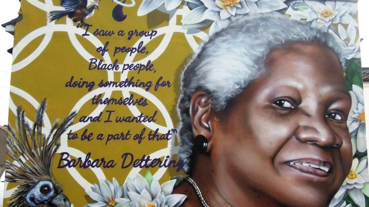 the barbara dettering mural as part of the seven saint of st pauls murals by artist michelle curtis