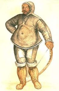 A painting of an Inuit in traditional dress