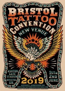 A poster advertising Bristol Tattoo Convention 2019. It features an illustration of an eagle breaking a chain in its claws