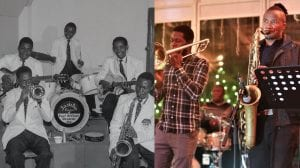 A historic photograph of a band next to a contemporary photograph of a band - both are playing instruments