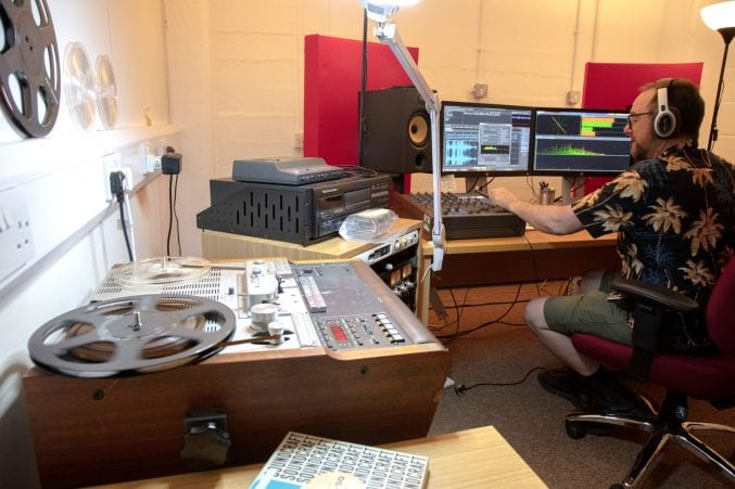 The sound room at Bristol Archives