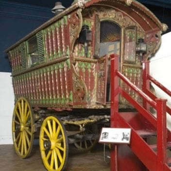 the romany wagon on display at bristol museum