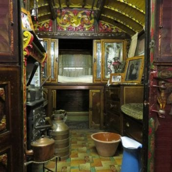 the inside of the romany wagon
