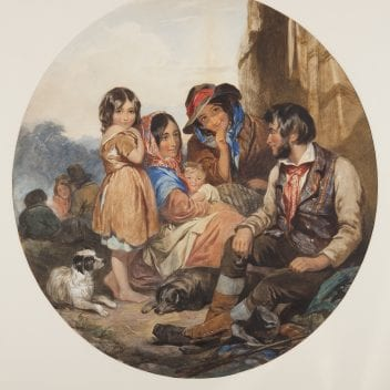 watercolour titled 'a group of gypies by James Curnock