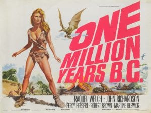 A film poster for One Million Years BC featuring Raquel Welch