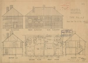 An official scale drawing of a house in Hillfields, Bristol