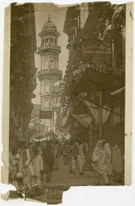Photograph of Peshawar street scene used for poster design, 1930s (ref. 2018/007/1/1)