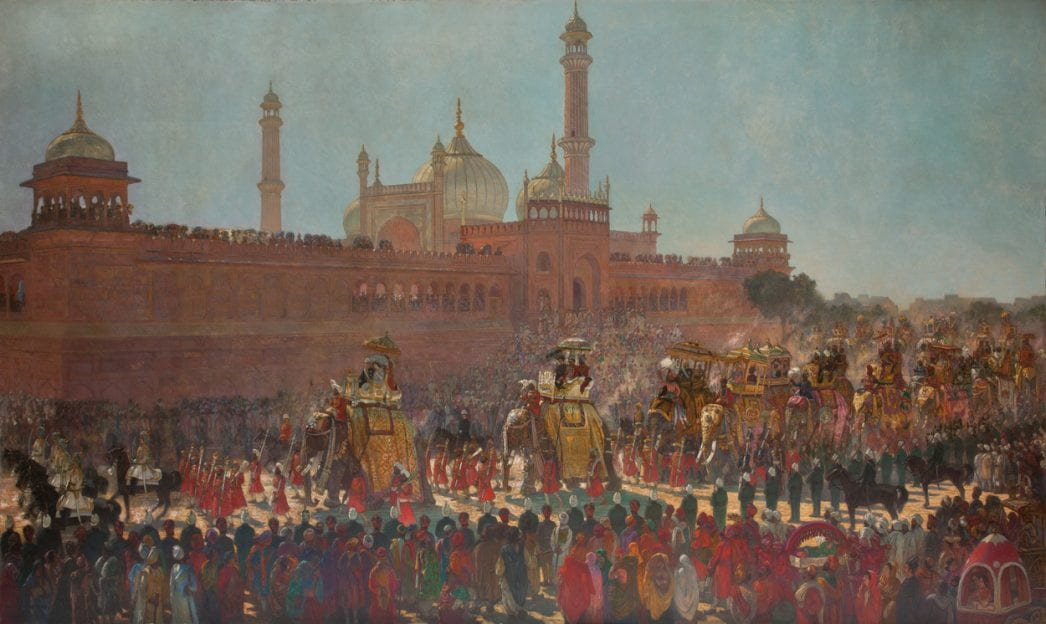 a painting of a procession of elephants walking through a crowd in delhi
