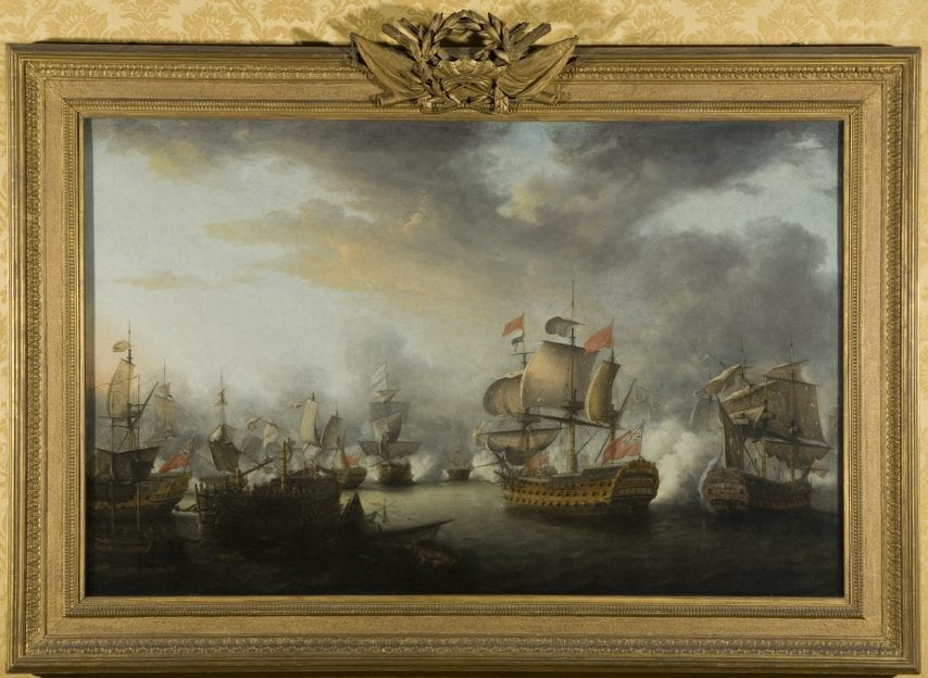a painting of ships during battle on display at bristol museum