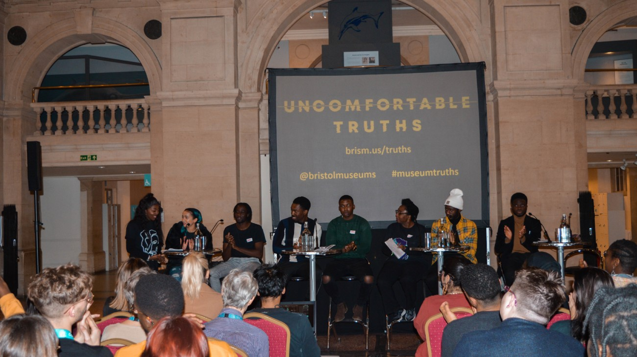 Photograph of Uncomfortable Truths launch showing panel of the group who helped create the project