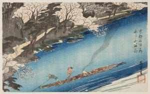 A Japanese Print of two men sailing down a river surrounded by Cherry Blossom trees