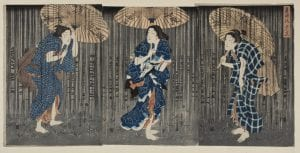 A Japanese Print featuring three women sheltering from the rain under umbrellas