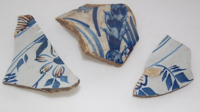 Shards of blue and white Delft ceramics