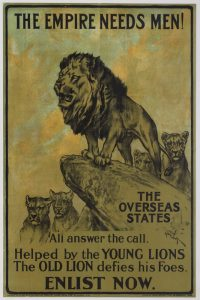 A WWII recruitment poster featuring a lion and the slogan 'The Empire Needs Men'