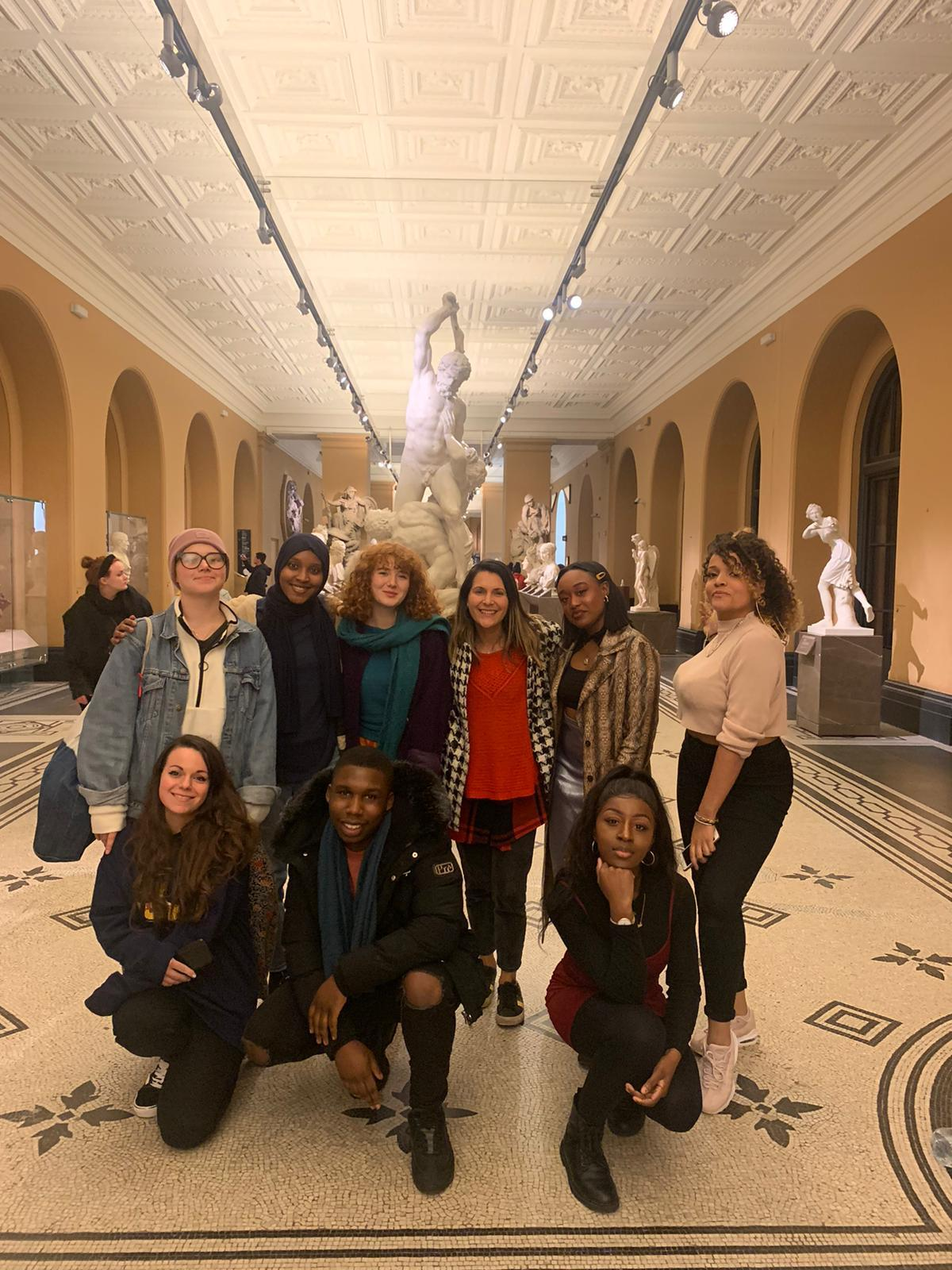 Group of young people (young collective) at the Victoria and Albert Museum
