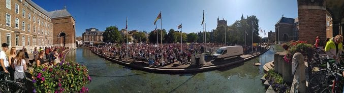 A panorama of the climate protest crowds outside City Hall on College Green in Bristol