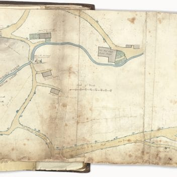 Page from the Horwood Book showing a hand-drawn map