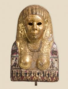 An ancient Egyptian mask decorated in gold - the first stage of the grief trail