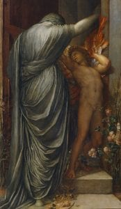 An oil painting of two figures in a doorway - one representing death and one representing love