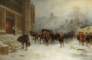 An oil painting depicting people walking through snow into a church for the funeral of King Charles I
