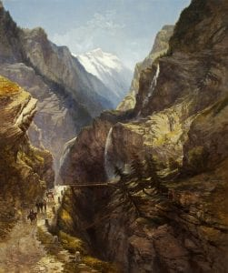A painting depicting a mountainous landscape and people walking up a path