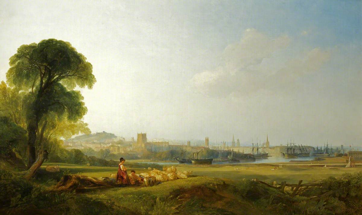 An idealised landscape painting of Bristol on a sunny day.