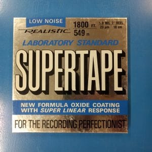 Supertape brand blue and silver audio tape box