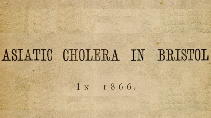 A piece of paper with the words 'Asiatic Cholera in Bristol in 1866' © Bristol Central Reference Library