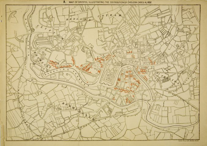 Map of Bristol illustrating the distribution of cholera cases in 1832', from 'Asiatic Cholera in Bristol in 1866' by Dr William Budd, Bristol, 1871; ref. B656.Pb