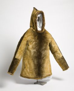 Sealskin parka, 1801- 1900. This sealskin parka is similar to the one Calichough was wearing when he arrived in Bristol.