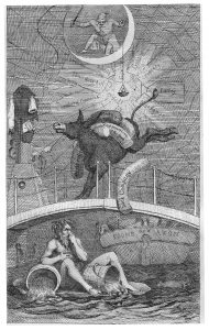 The Corruption of the Froom': The Man in the Moon (a radical pamphletist) illuminates a web of corruption holding official documents. A kicking ass frees a bundle marked 'Dock Company' and the deity of the Froom holds his nose at the stench. His usual water urns are replaced with slop buckets and dead cats float by. A sailor vomits in the waters behind. All Rights Reserved; courtesy of Bristol Libraries