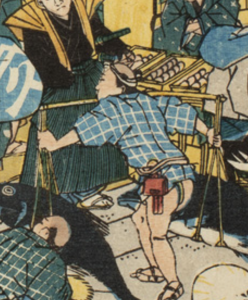Detail of Japanese woodblock print showing porter in short jacket with tobacco pouch and netsuke in belt carrying fish