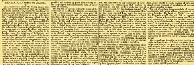 The Sanitary State of Bristol newspaper excerpt [From The Bristol Times, 1869]