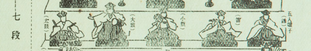 Black and white illustration demonstrating the third tier of a hinamatsuri dolls set. Pictured a five male court musicians. They appear to be playing several instruments.