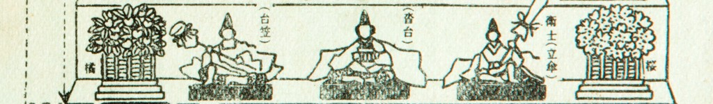 Black and white illustration demonstrating the fifth tier of a hinamatsuri dolls set.