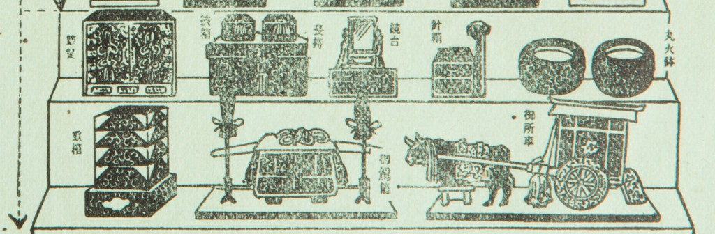 Black and white illustration demonstrating the sixth and seventh tier of a hinamatsuri dolls set.