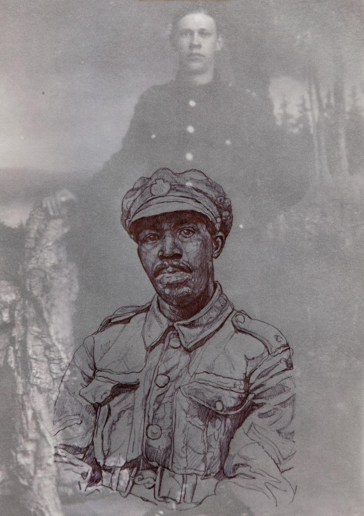 An archive photograph of a white soldier overlaid with a drawing of a black soldier