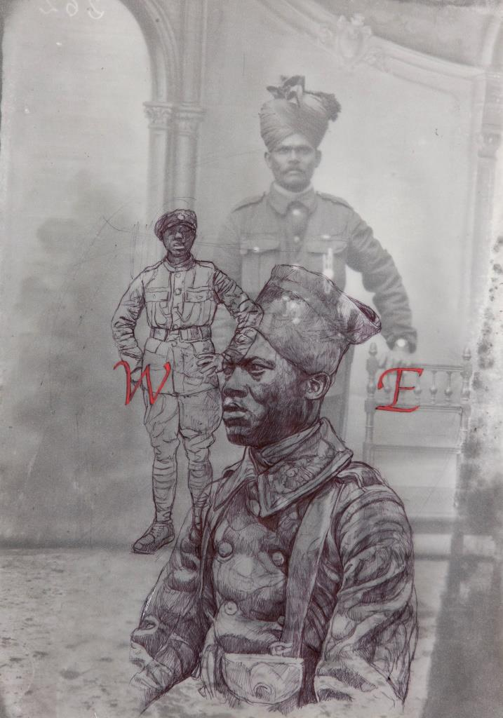 An archive photograph of an Asian soldier overlaid with two drawings of a black soldiers. The letters W and E appear in red next to each of the black soldiers