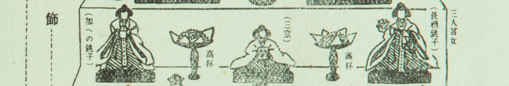 Black and white illustration demonstrating the second tier of a hinamatsuri dolls set. Pictured are three women, between them are a thin pillared table with sweets