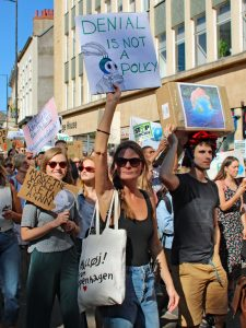 Photograph of crowd from march with placards