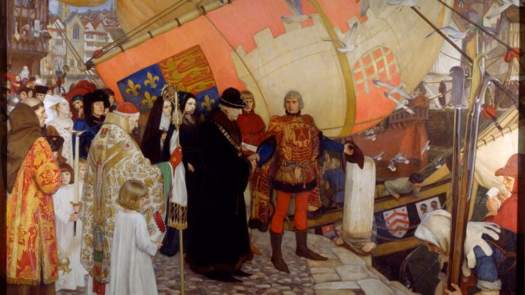 The Departure of John and Sebastian Cabot on their First Voyage of Discovery, 1497 a painting on canvas, framed
