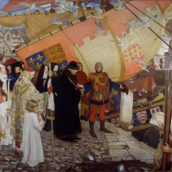 The Departure of John and Sebastian Cabot on their First Voyage of Discovery, 1497, a painting on canvas, framed