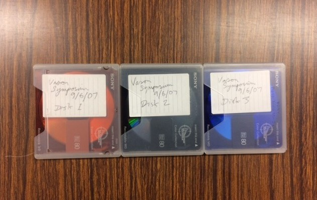 Minidiscs with hand-written notes