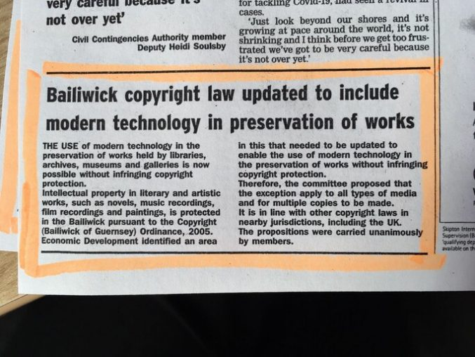 Clipping from the Guernsey Press in August 2020