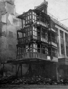 The remains of the Dutch House after the raid. © David Facey, from the Facey Collection at Bristol Archives, 41969/1/67