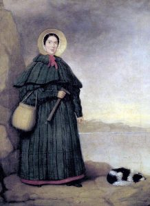 Portrait of Mary Anning with her dog Tray, Natural History Museum, London. Wiki Commons.